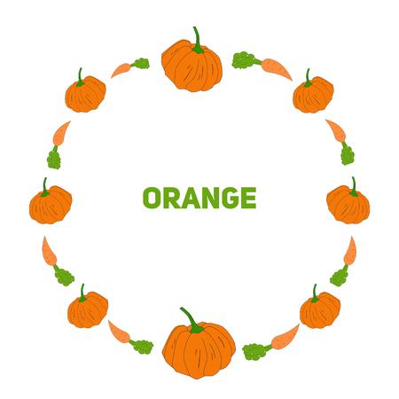 pumpkin seeds: Pumpkin and carrot doodle hand drawn vector illustraion