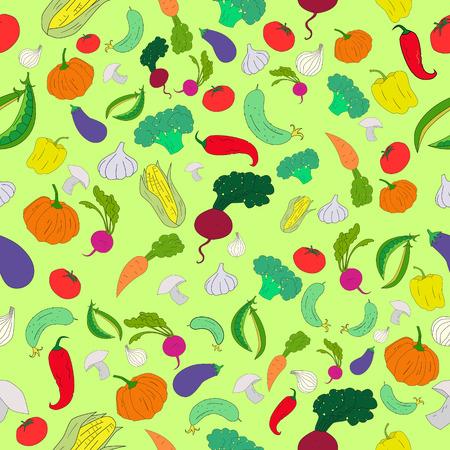 pumpkin seeds: Seamless pattern color vegetables background doodle hand drawn vector illustration Illustration