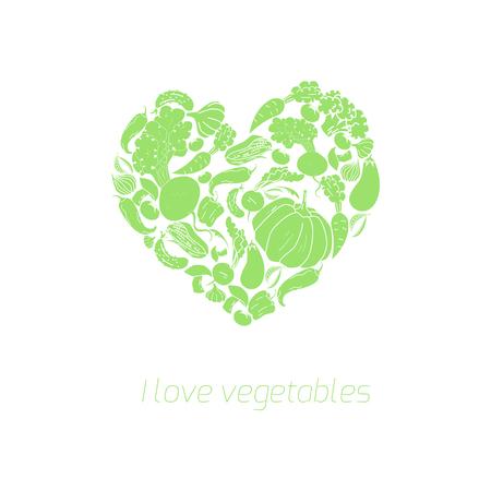vegetarianism: Heart vegetables food doodle hand drawn vector illustration green color