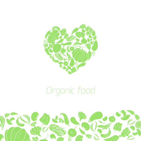 useful: Heart organic vegetables food vector illustration doodle hand drawn green color