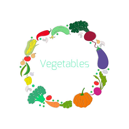 seed bed: Wreath vegetables circle doodle hand drawn vector illustration Illustration