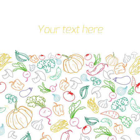 garden peas: Fresh vegetables with placeholder for text doodle hand drawn