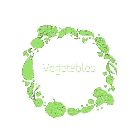pumpkin seeds: Wreath vegetables circle doodle hand drawn vector illustration Illustration