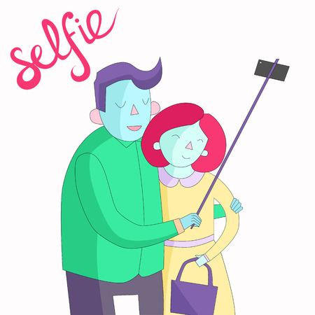 selfy: selfie photo cartoon hand drawn doodle illustration vector vivid color Illustration