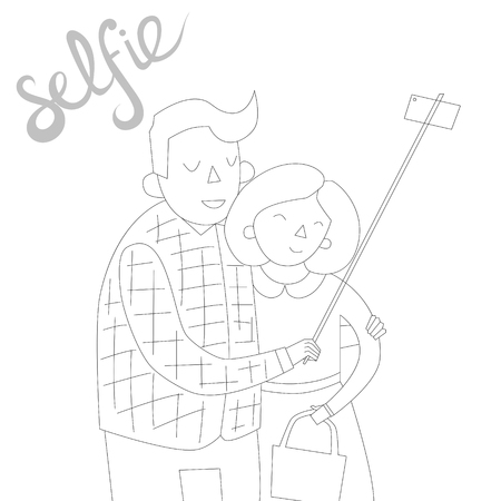 tendency: selfie photo cartoon hand drawn doodle illustration vector black and white color Illustration