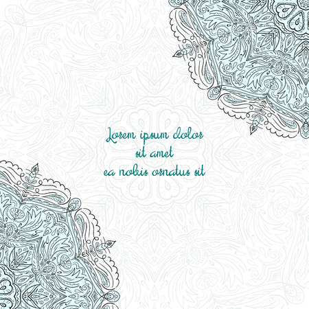 placeholder: Floral ornament doodle hand drawn abstract vector illustration text placeholder