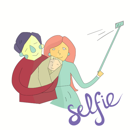 photo shoot: selfie family photo hand drawn doodle illustration vector vivid color