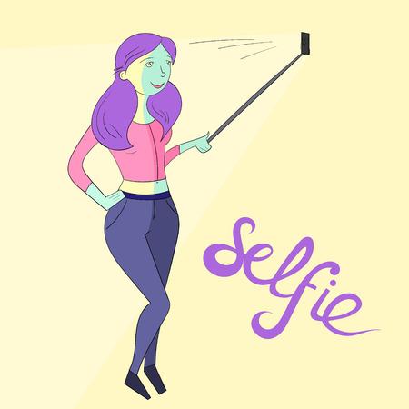 canlı renkli: selfie girl photo hand drawn doodle illustration vivid color