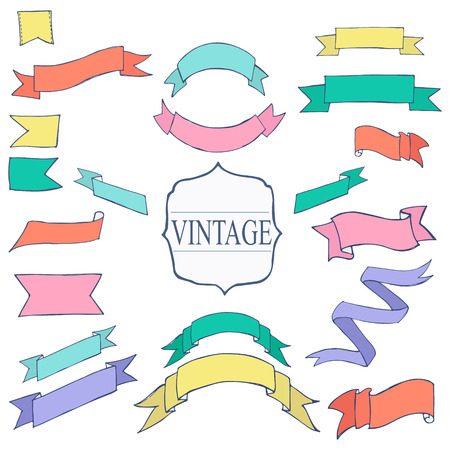 placeholder: Vintage Color ribbon tape text placeholder doodle hand drawn  vector illustration Illustration