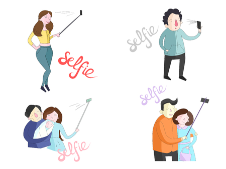 photo shoot: Selfie doodle hand drawn illustrations of people with smartphones