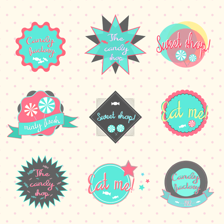 eat me: Candy labels pastry shop hand drawn doodle vector illustration