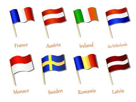 флагшток: European flag icon hand drawn vector illustration