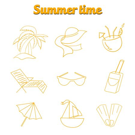 logo voyage: Summer beach travel logo icon doodle hand drawn vector illustration