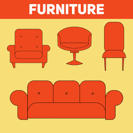 upholstered: Furniture abstract icon hand drawn vector illustration Illustration