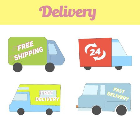 transported: Delivery vehicle icon doodle hand drawn vector illustration