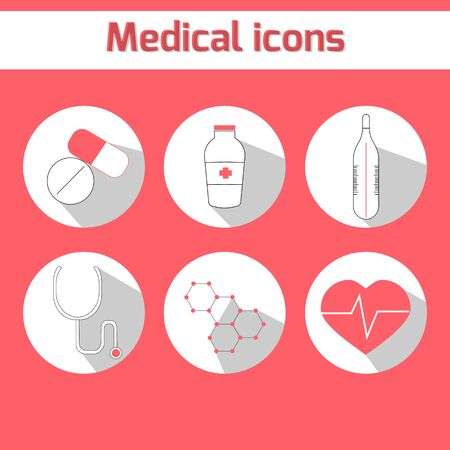 be ill: Medical icons doodle hand drawn  vector illustration red color version Illustration