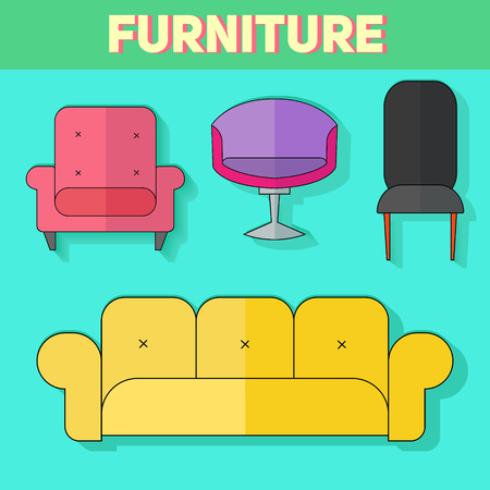 schematically: Furniture abstract icon doodle hand drawn vector illustration flat style color version