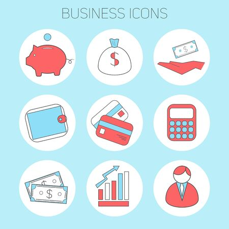 cash flows: Business icons doodle hand drawn vector illustration blue and red flat style color verstion