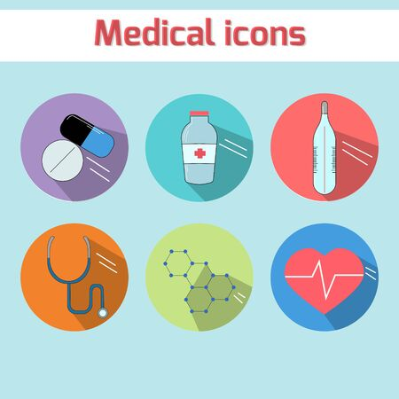 be ill: Medical icons doodle hand drawn vector illustration color version