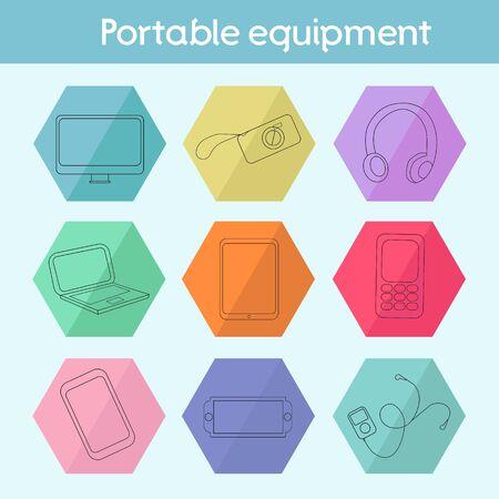 Gadget modern flat icon doodle hand drawn vector illustration