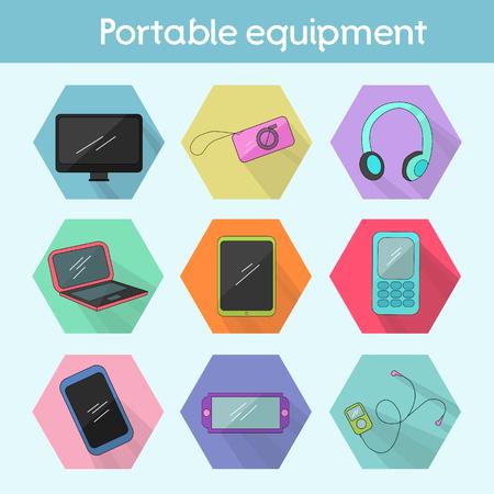 Gadget modern flat icon color doodle hand drawn vector illustration Illustration