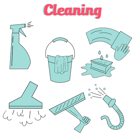 purity: Cleaning icons flat modern style icon doodle hand drawn vector illustration