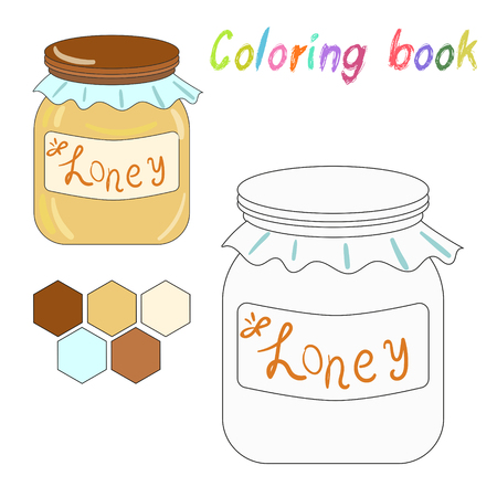 harvesting: Coloring book honey kids layout for game doodle hand drawn vector illustration