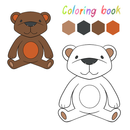 have fun: Coloring book bear kids layout for game cartoon doodle hand drawn  vector illustration Illustration