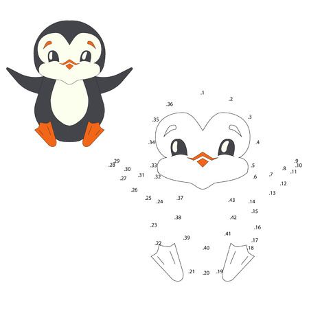Connect the dots game penguin cartoon doodle hand drawn vector illustration