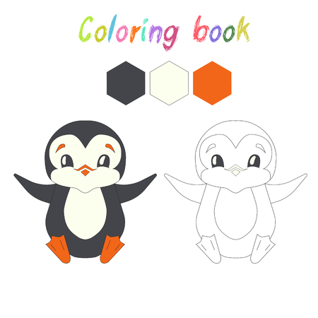 Coloring Book Penguin Kids Layout For Game Doodle Hand Drawn Cartoon Vector Illustration