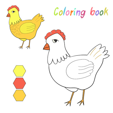 color page: Coloring book chicken kids layout for game doodle hand drawn cartoon vector illustration Illustration