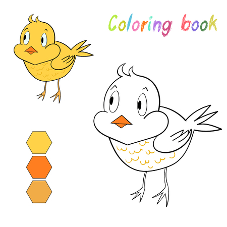 nestling birds: Coloring book chicken kids layout for game cartoon hand drawn doodle vector illustration Illustration