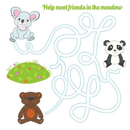 choose a path: Labyrinth maze find a way panda koala bear kids layout for game cartoon hand drawn doodle vector illustration