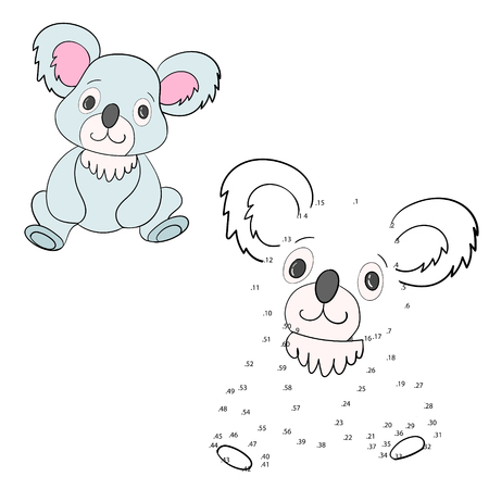 have fun: Connect the dots game koala cartoon hand drawn doodle vector illustration