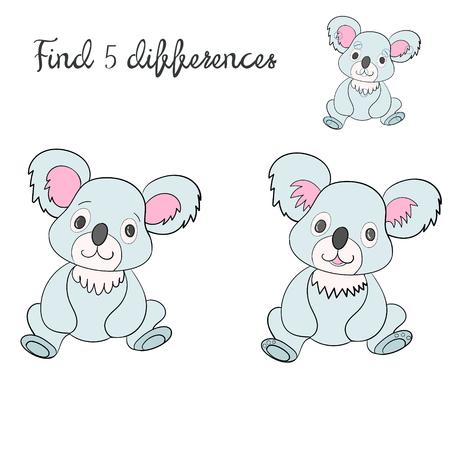 ni�os actuando: Encuentra dise�o diferencias ni�os de la mano de dibujos animados juego doodle ilustraci�n vectorial