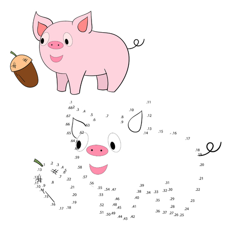 rotund: Connect the dots game pig cartoon hand drawn doodle vector illustration
