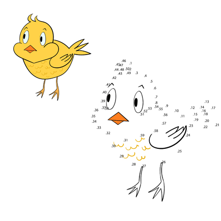 have fun: Connect the dots game chicken cartoon hand drawn doodle vector illustration