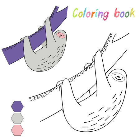 pounce: Coloring book sloth kids layout for game doodle hand drawn cartoon vector illustration