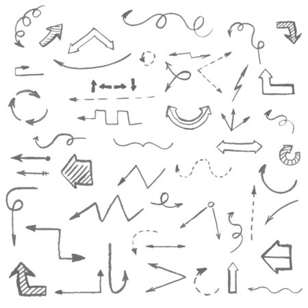 pounce: Arrows and infographics elements doodle sketch hand drawn vector illustration