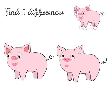 rotund: Find differences kids layout for game pig doodle hand drawn cartoon vector illustration