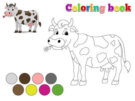 color pages: Coloring book cow kids layout for game cartoon hand drawn vector illustration Illustration