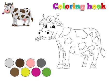 cartoon cow: Libro para colorear ni�os vaca dise�o para dibujos animados juego dibujado a mano ilustraci�n vectorial