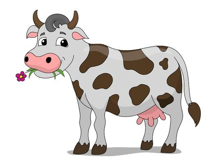 Cartoon cow colorful hand drawn vector illustration