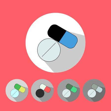 be ill: Medical icons flat minimalistic colorful vector illustration Illustration