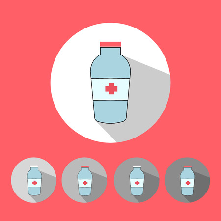 be ill: Medical icons vector illustration red color  flat minimalistic colorful