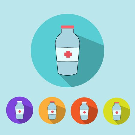 be ill: Medical icons flat minimalistic colorful  vector illustration color Illustration