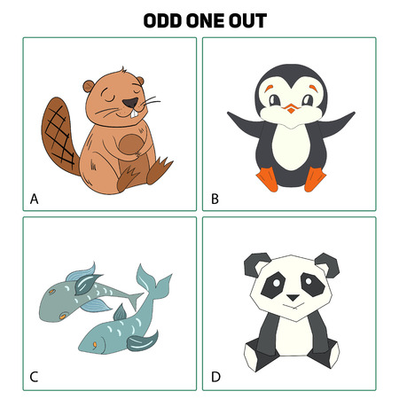 odd: Odd one out child game cartoon doodle hand drawn vector illustration Illustration