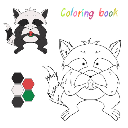 have fun: Coloring book raccoon kids layout for game cartoon hand drawn doodle vector illustration Illustration