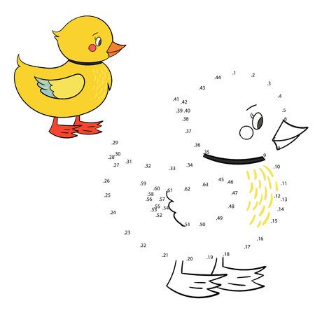 pato caricatura: Conecte la ilustraci�n vectorial garabato dibujado a mano los puntos de juego de dibujos animados del pato