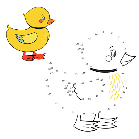 connect the dots: Connect the dots game duck cartoon hand drawn doodle vector illustration